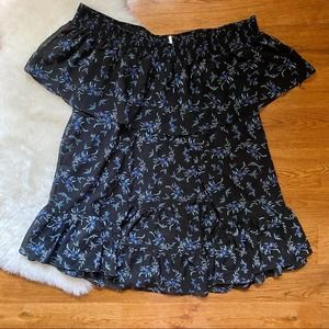 Free People Off Shoulder Black Floral Ruffle Tunic